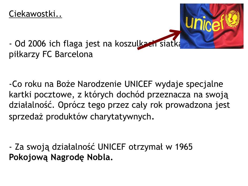 Ciekawostki.. - Od 2006 ich flaga jest na koszulkach siatkarek i piłkarzy FC Barcelona -Co roku na Boże Narodzenie UNICEF wydaje specjalne kartki pocz