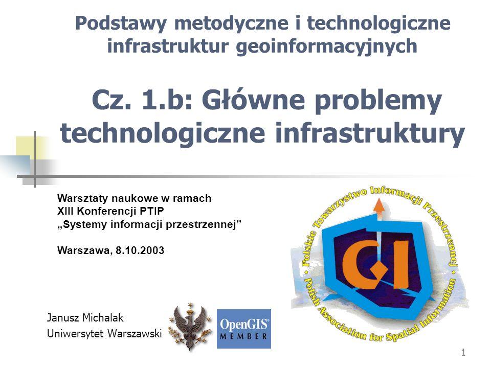 1 Podstawy metodyczne i technologiczne infrastruktur geoinformacyjnych Cz. 1.b: Główne problemy technologiczne infrastruktury Janusz Michalak Uniwersy