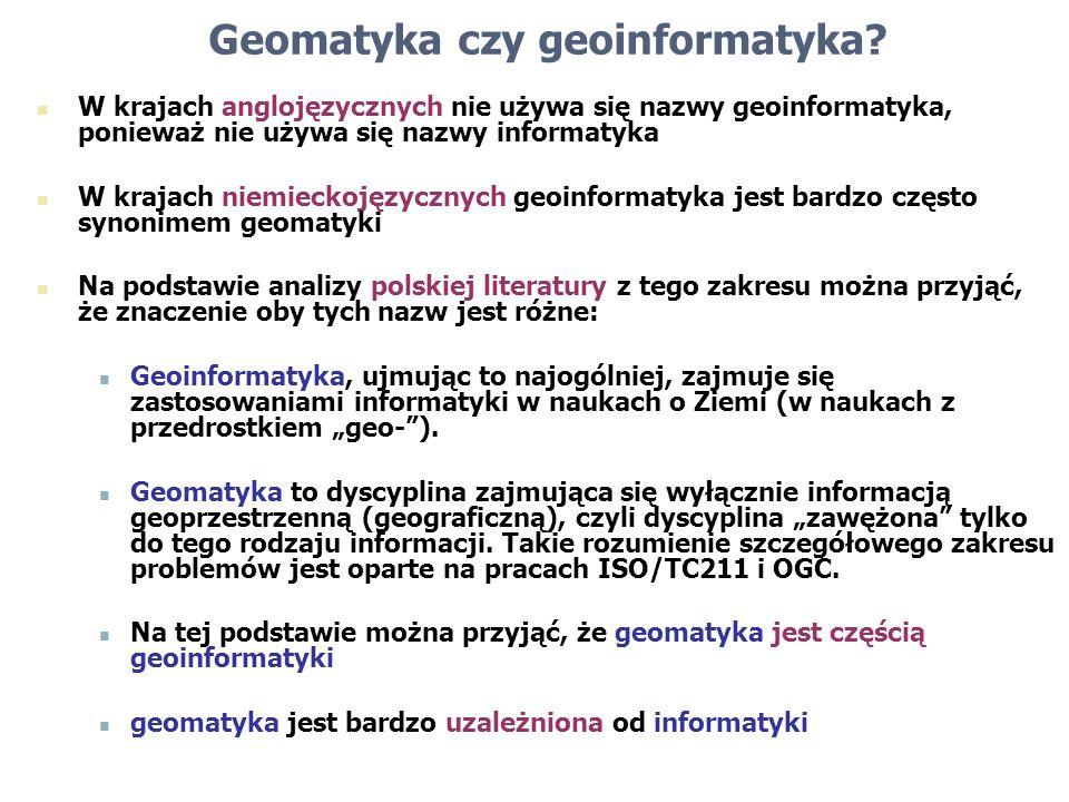 Geomatyka czy geoinformatyka? W krajach anglojęzycznych nie używa się nazwy geoinformatyka, ponieważ nie używa się nazwy informatyka W krajach niemiec