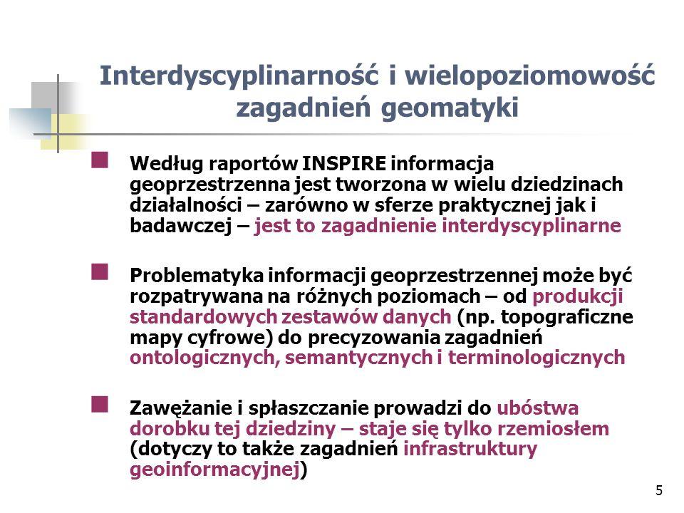 6 80 % wszelkiej informacji ma aspekt przestrzenny (nie jest to domena wąskiej grupy specjalistów od geoinformacji) Geomatyka (= aspekt przestrzenny i topologiczny geoinformacji) – wspólny mianownik Czyli bez części specyficznej dla dziedzin zastosowań Część tematyczną każda dziedzina inną (z tego powodu opracowuje ją sama) Geoinformacja tworzona przez różne dyscypliny musi pomiędzy nimi przepływać (z tego wynikają pojęcia: społeczności geoinformacyjne, translatory semantyczne) Interdyscyplinarność geomatyki