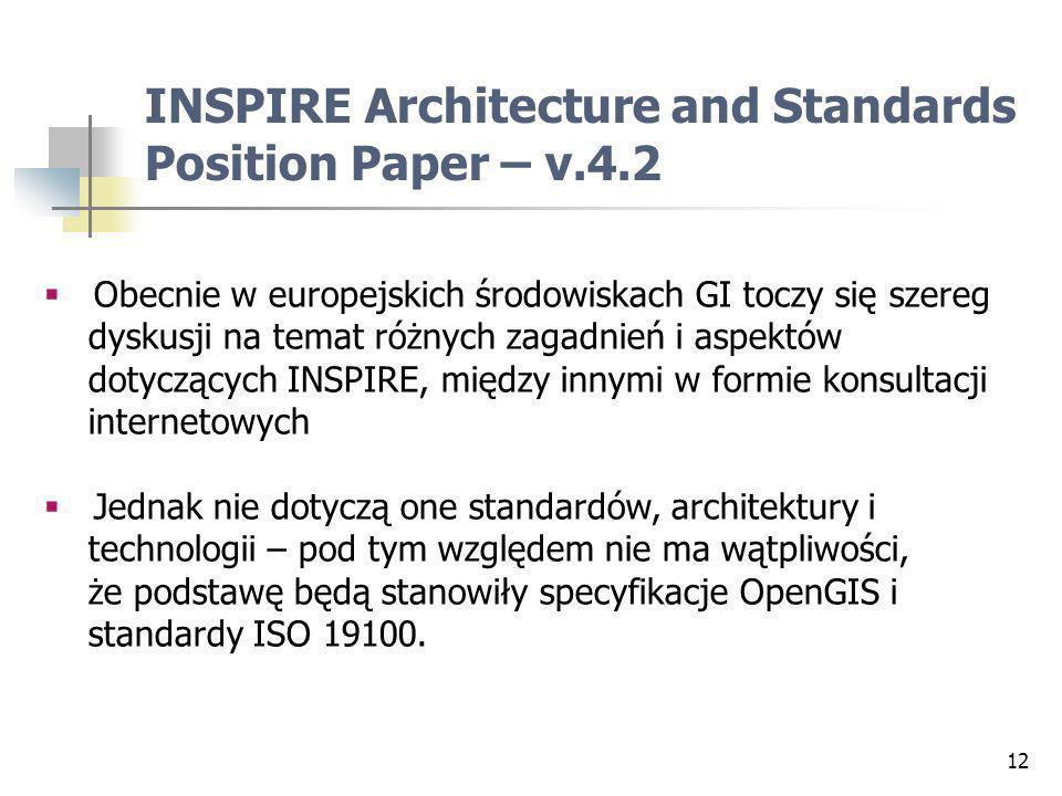 12 INSPIRE Architecture and Standards Position Paper – v.4.2 Obecnie w europejskich środowiskach GI toczy się szereg dyskusji na temat różnych zagadnień i aspektów dotyczących INSPIRE, między innymi w formie konsultacji internetowych Jednak nie dotyczą one standardów, architektury i technologii – pod tym względem nie ma wątpliwości, że podstawę będą stanowiły specyfikacje OpenGIS i standardy ISO 19100.
