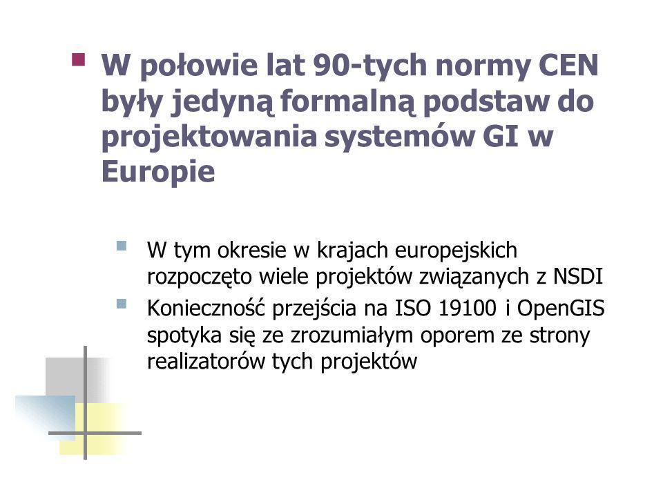 W połowie lat 90-tych normy CEN były jedyną formalną podstaw do projektowania systemów GI w Europie W tym okresie w krajach europejskich rozpoczęto wiele projektów związanych z NSDI Konieczność przejścia na ISO 19100 i OpenGIS spotyka się ze zrozumiałym oporem ze strony realizatorów tych projektów