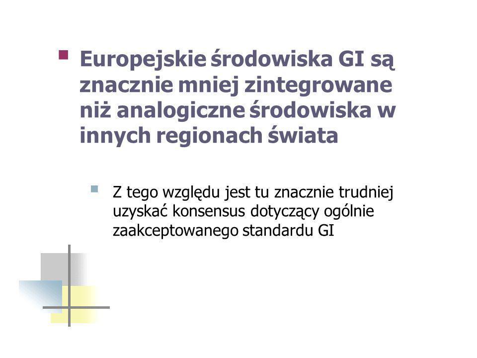 Europejskie środowiska GI są znacznie mniej zintegrowane niż analogiczne środowiska w innych regionach świata Z tego względu jest tu znacznie trudniej uzyskać konsensus dotyczący ogólnie zaakceptowanego standardu GI