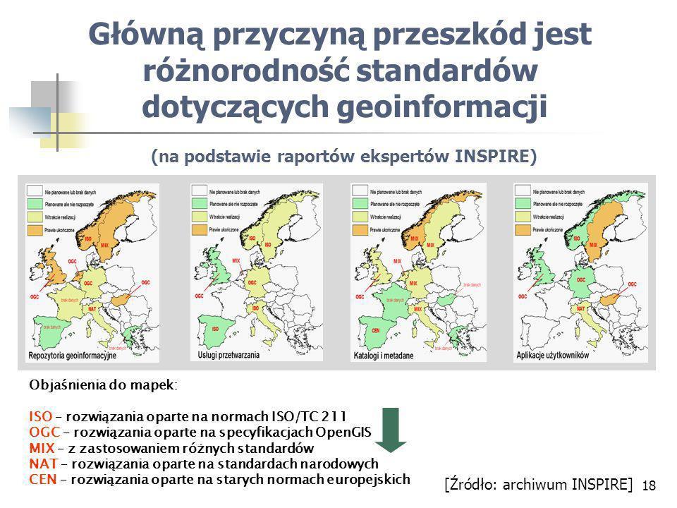 18 Objaśnienia do mapek: ISO – rozwiązania oparte na normach ISO/TC 211 OGC – rozwiązania oparte na specyfikacjach OpenGIS MIX – z zastosowaniem różnych standardów NAT – rozwiązania oparte na standardach narodowych CEN – rozwiązania oparte na starych normach europejskich Główną przyczyną przeszkód jest różnorodność standardów dotyczących geoinformacji (na podstawie raportów ekspertów INSPIRE) [Źródło: archiwum INSPIRE]