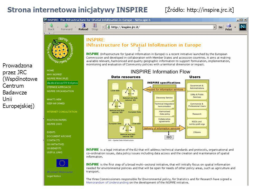 [Źródło: http://inspire.jrc.it] Strona internetowa inicjatywy INSPIRE Prowadzona przez JRC (Wspólnotowe Centrum Badawcze Unii Europejskiej)