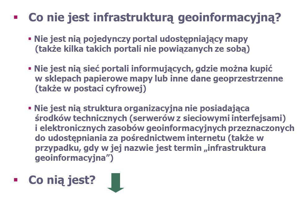 [Źródło: (Gaździcki, 2003)] Definicja terminu infrastruktura geoinformacyjna Zespół odpowiednich środków technicznych i technologii, środków politycznych i ekonomicznych oraz przedsięwzięć instytucjonalnych, które ułatwiają dostęp do danych przestrzennych oraz korzystanie z nich.
