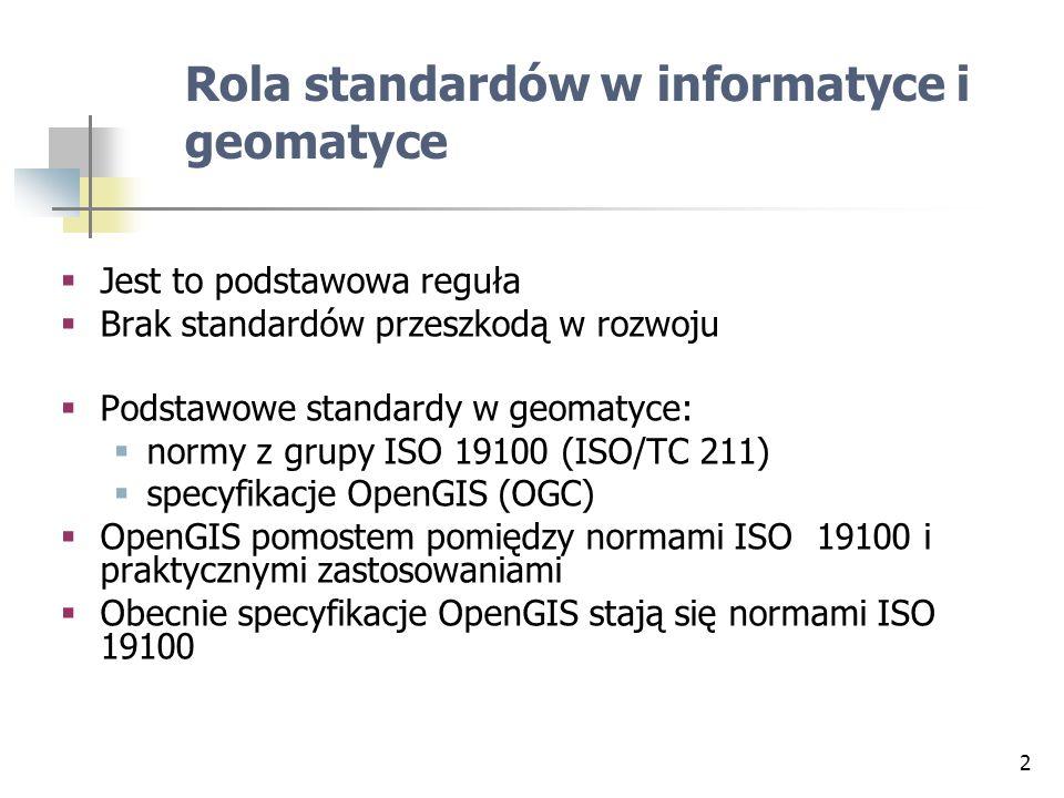 2 Rola standardów w informatyce i geomatyce Jest to podstawowa reguła Brak standardów przeszkodą w rozwoju Podstawowe standardy w geomatyce: normy z g