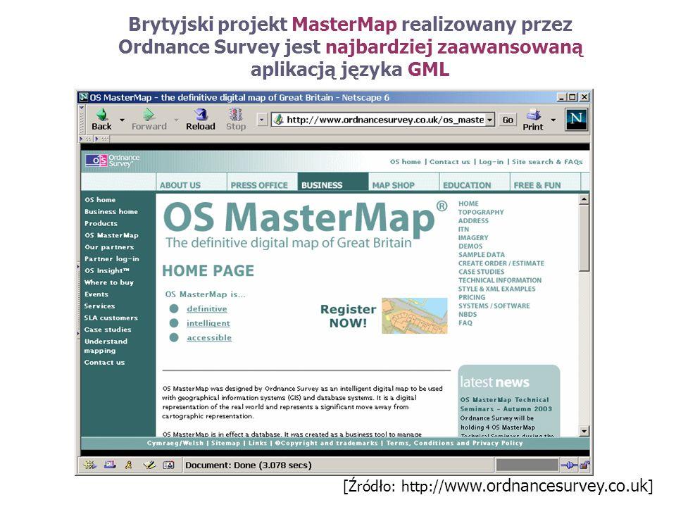 Brytyjski projekt MasterMap realizowany przez Ordnance Survey jest najbardziej zaawansowaną aplikacją języka GML [Źródło: http:// www.ordnancesurvey.c