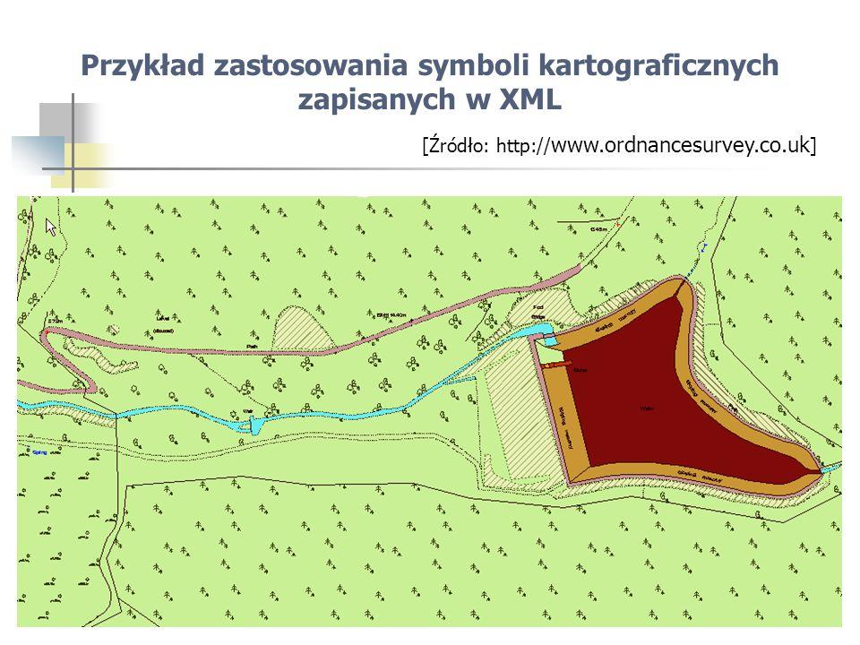 27 Przykład zastosowania symboli kartograficznych zapisanych w XML [Źródło: http:// www.ordnancesurvey.co.uk ]