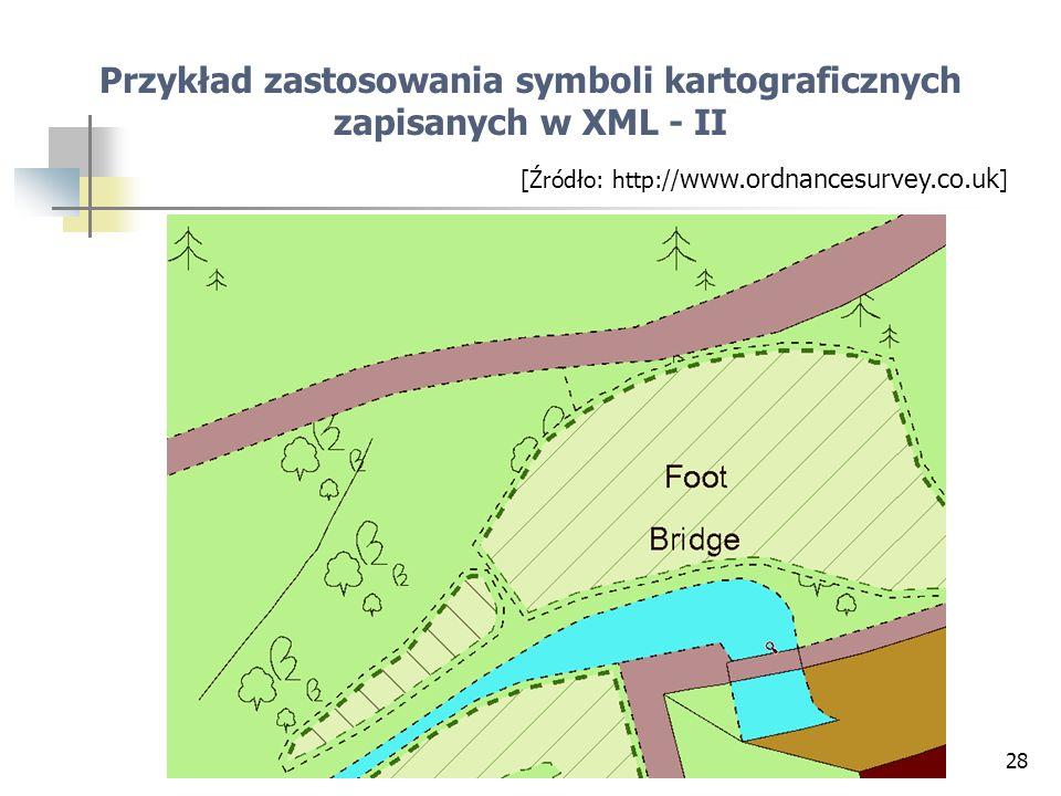 28 Przykład zastosowania symboli kartograficznych zapisanych w XML - II [Źródło: http:// www.ordnancesurvey.co.uk ]