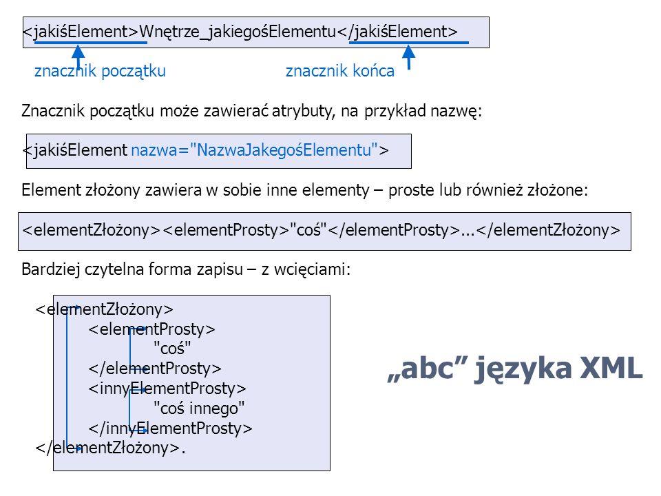 abc języka XML Wnętrze_jakiegośElementu znacznik początkuznacznik końca Znacznik początku może zawierać atrybuty, na przykład nazwę: Element złożony z