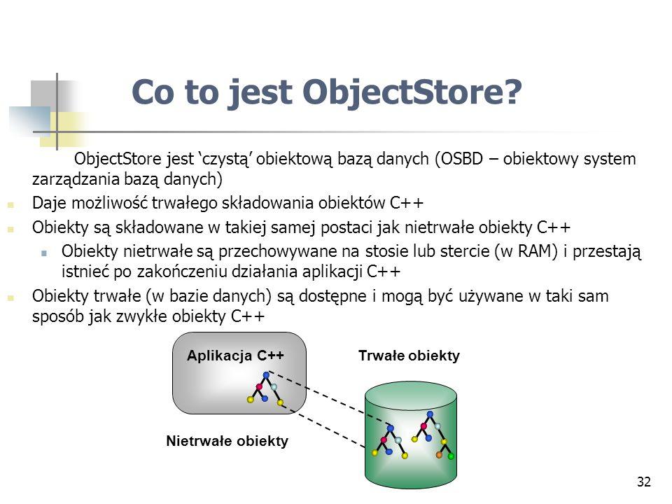 32 Co to jest ObjectStore? ObjectStore jest czystą obiektową bazą danych (OSBD – obiektowy system zarządzania bazą danych) Daje możliwość trwałego skł