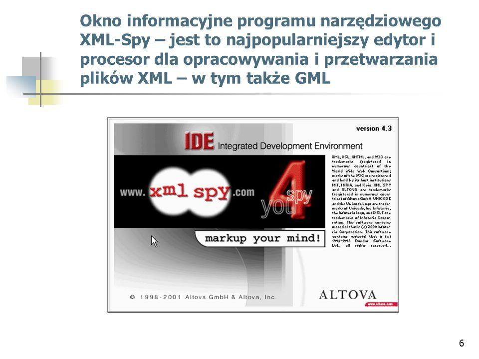 6 Okno informacyjne programu narzędziowego XML-Spy – jest to najpopularniejszy edytor i procesor dla opracowywania i przetwarzania plików XML – w tym