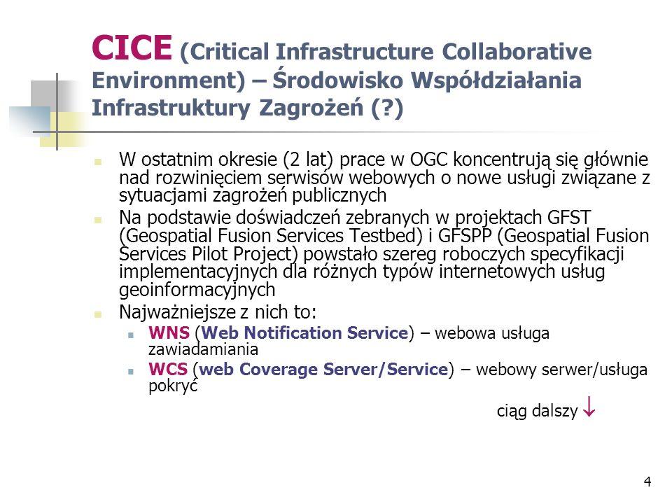 WFS (Web Feature Server/Service) – webowy serwer/usługa wyróżnień WRS (Web Registry Server) – webowy serwer rejestrów (usług i danych) WGCS (Web GeoCoder Service) – webowa usługa geokodowania WGPS (Web GeoParser Service) – webowa usługa wyszukiwania w tekstach pośrednich odniesień geograficznych (np.