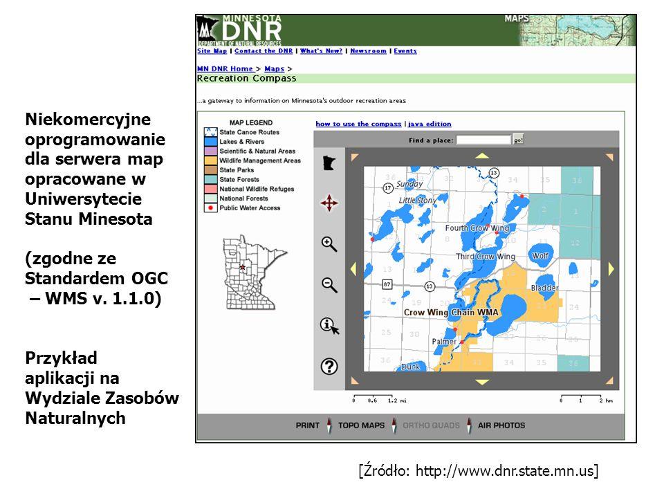[Źródło: http://www.dnr.state.mn.us] Niekomercyjne oprogramowanie dla serwera map opracowane w Uniwersytecie Stanu Minesota (zgodne ze Standardem OGC