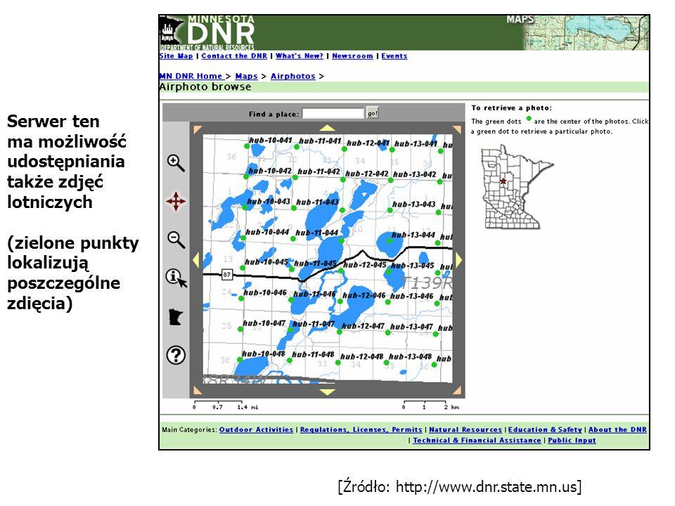 [Źródło: http://www.dnr.state.mn.us] Serwer ten ma możliwość udostępniania także zdjęć lotniczych (zielone punkty lokalizują poszczególne zdięcia)