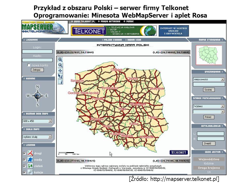 [Źródło: http://mapserver.telkonet.pl] Przykład z obszaru Polski – serwer firmy Telkonet Oprogramowanie: Minesota WebMapServer i aplet Rosa