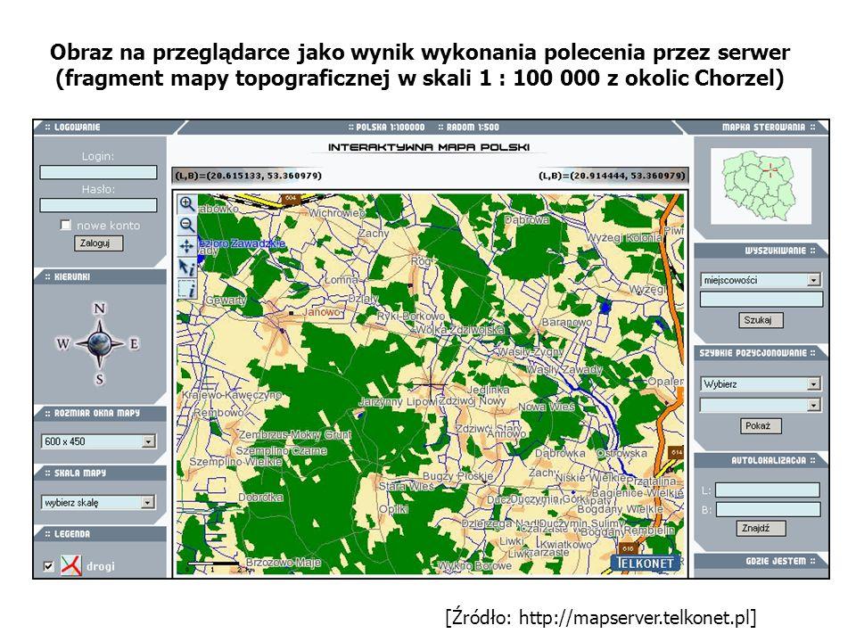[Źródło: http://mapserver.telkonet.pl] Obraz na przeglądarce jako wynik wykonania polecenia przez serwer (fragment mapy topograficznej w skali 1 : 100