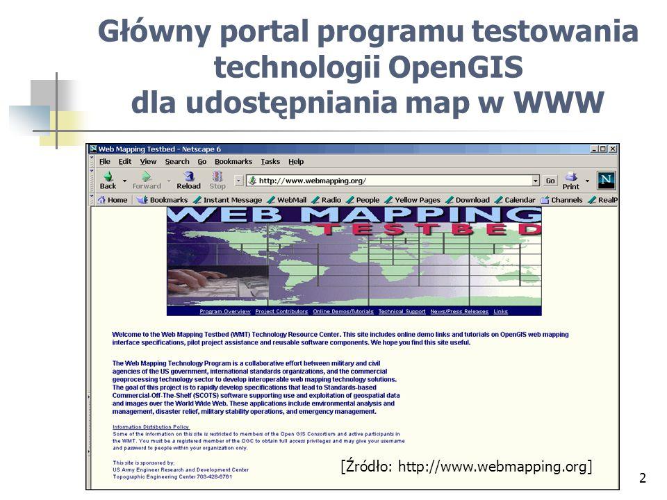 2 Główny portal programu testowania technologii OpenGIS dla udostępniania map w WWW [Źródło: http://www.webmapping.org]