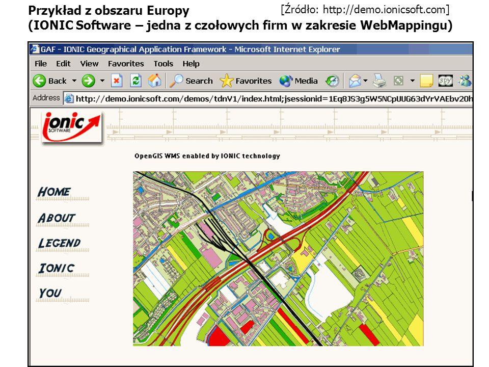 [Źródło: http://demo.ionicsoft.com] Przykład z obszaru Europy (IONIC Software – jedna z czołowych firm w zakresie WebMappingu)