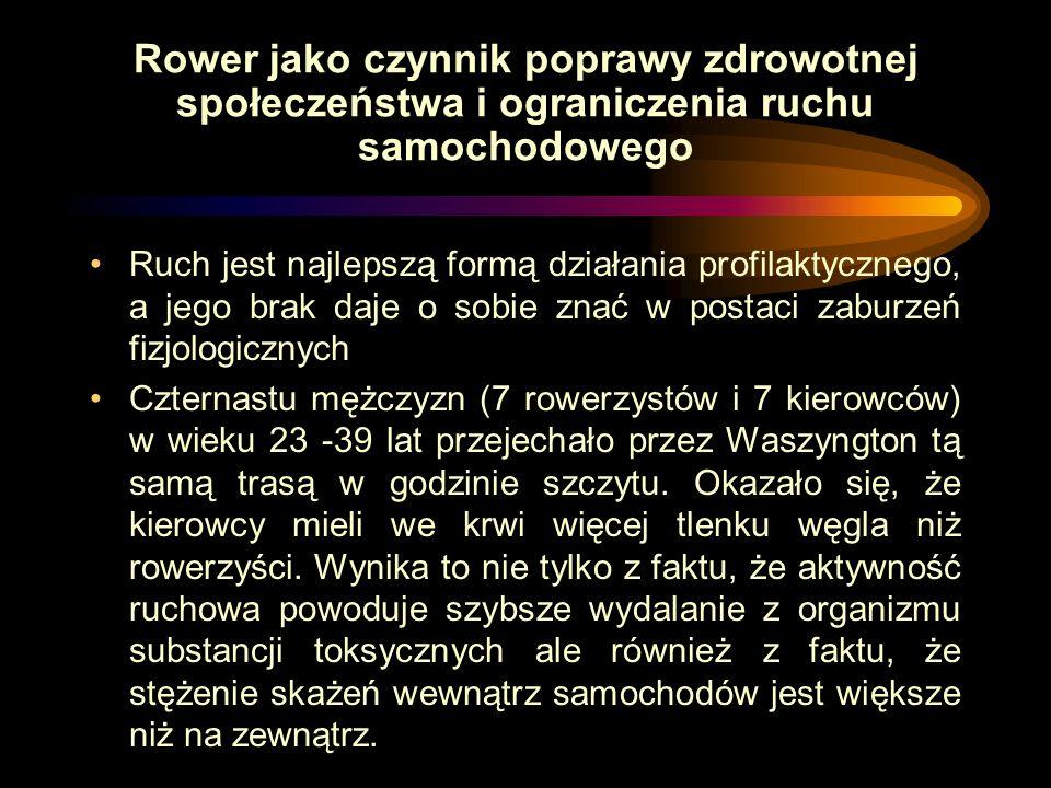 Zmniejszenie zatrucia Krakowa spalinami samochodowymi dzięki zastąpieniu podróży samochodowych rowerami na dystansie do 3 km CO2 - 43 tys. ton CO - 1