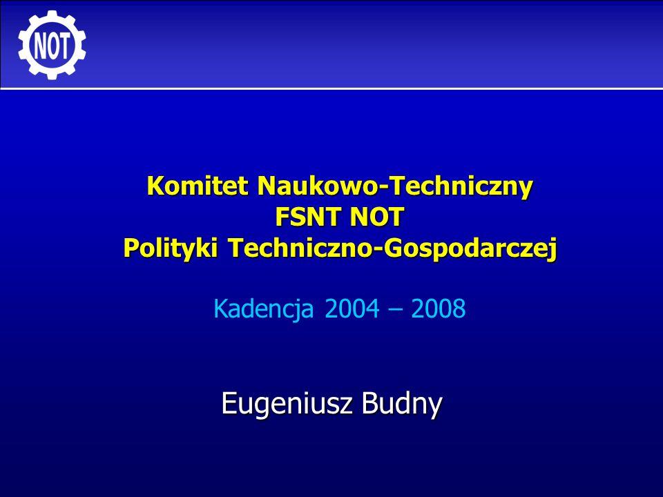 2 Komitet N-T FSNT NOT Polityki Techniczno-Gospodarczej Sytuacja FSNT-NOT wczoraj i dziś WCZORAJ: WCZORAJ: organizacja masowa, organizacja masowa, instytucja finansowana ze źródeł budżetowych, instytucja finansowana ze źródeł budżetowych, właściciel wielu branżowych tytułów technicznych (dzisiaj przekazanych do innych instytucji, przede wszystkim instytutów naukowo-badawczych), właściciel wielu branżowych tytułów technicznych (dzisiaj przekazanych do innych instytucji, przede wszystkim instytutów naukowo-badawczych), stymulator działań technicznych i organizacyjnych w przedsiębiorstwach.