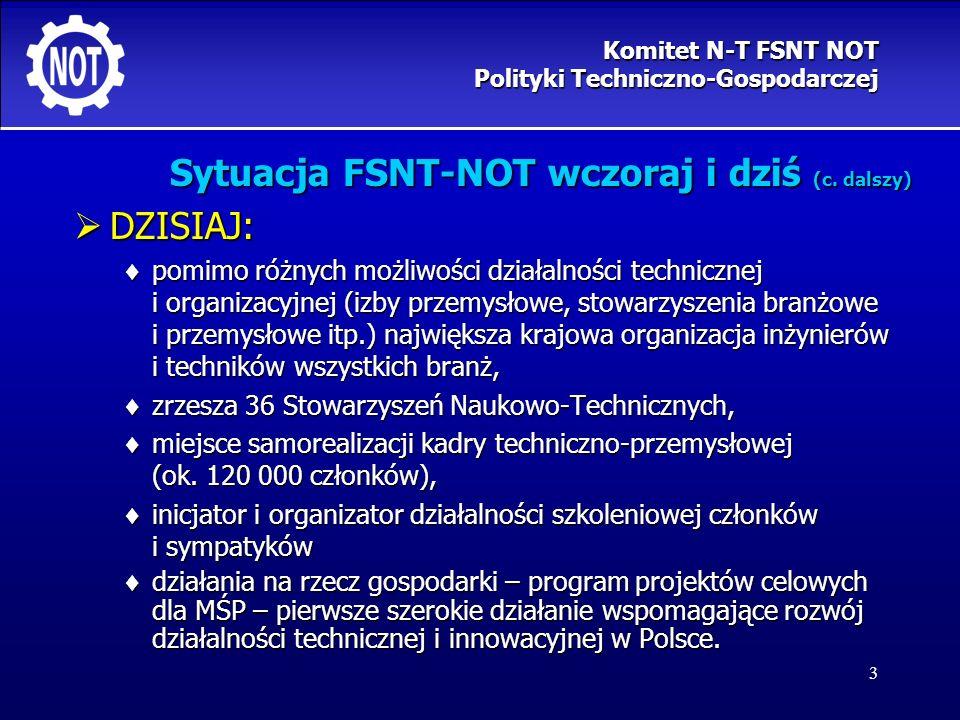 3 Sytuacja FSNT-NOT wczoraj i dziś (c. dalszy) DZISIAJ: DZISIAJ: pomimo różnych możliwości działalności technicznej i organizacyjnej (izby przemysłowe