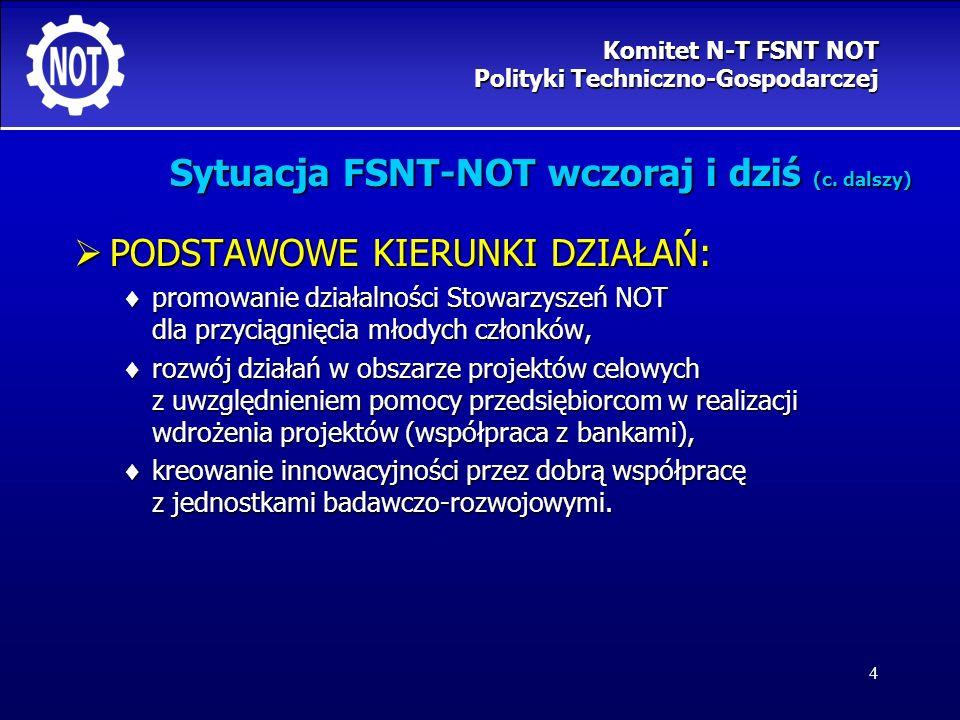 4 Sytuacja FSNT-NOT wczoraj i dziś (c. dalszy) PODSTAWOWE KIERUNKI DZIAŁAŃ: PODSTAWOWE KIERUNKI DZIAŁAŃ: promowanie działalności Stowarzyszeń NOT dla