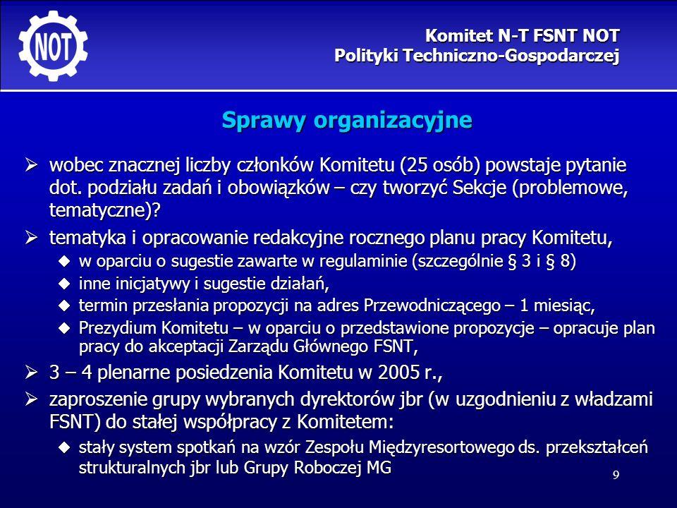 9 Sprawy organizacyjne wobec znacznej liczby członków Komitetu (25 osób) powstaje pytanie dot. podziału zadań i obowiązków – czy tworzyć Sekcje (probl