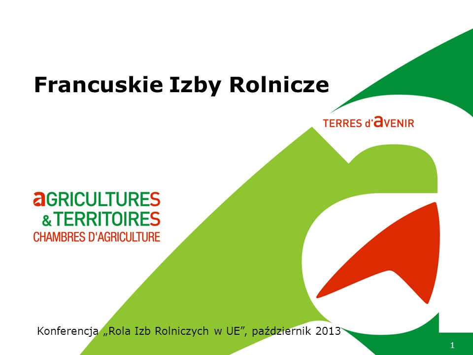 Rola Izb na poszczególnych poziomach 92 departamentalne Izby Rolnicze 21 regionalnych Izb Rolniczych Stałe Zgromadzenie Izb Rolniczych (APCA) Koordynacja sieci Izb Usługi świadczone na poziomie krajowym (promocja, szkolenia, strona internetowa, oprogramowanie) Ekspertyza w zakresie polityki krajowej, europejskiej i światowej koordynacja regionalnego programu rozwoju rolnictwa wyniki modelowe ekonomiczne i techniczne do naśladowania badania naukowe transfer wiedzy pomiędzy naukowcami i rolnikami koncentracja usługi na poziomie region.