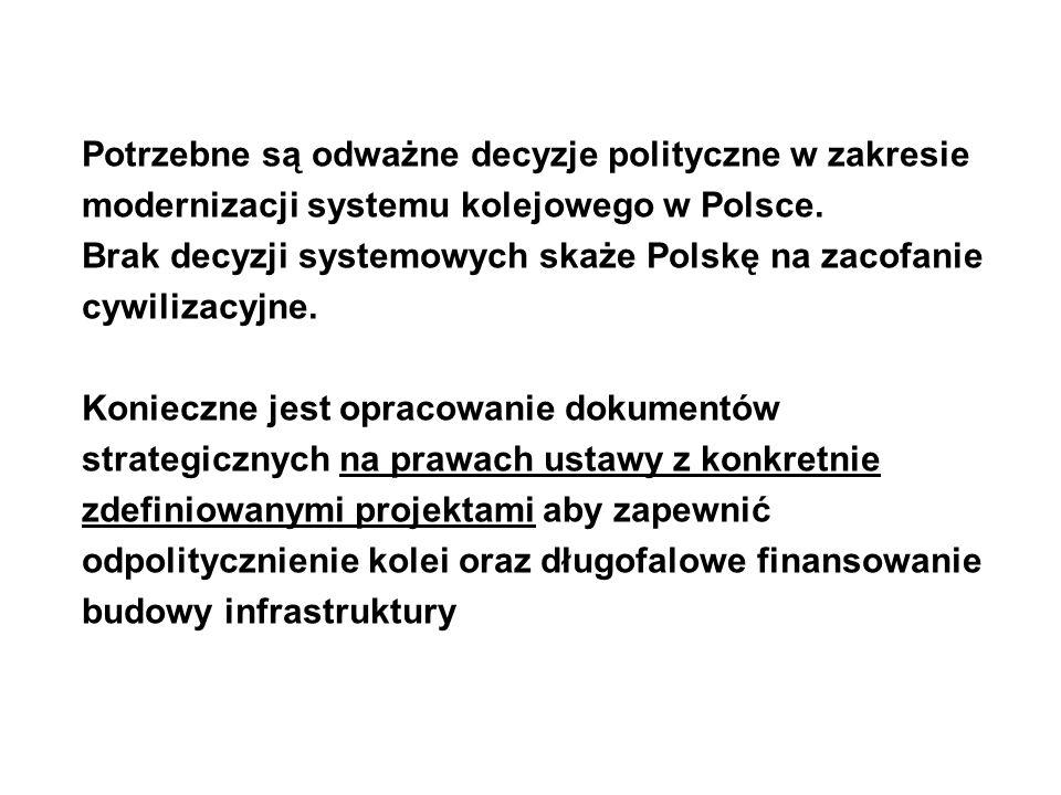 Potrzebne są odważne decyzje polityczne w zakresie modernizacji systemu kolejowego w Polsce. Brak decyzji systemowych skaże Polskę na zacofanie cywili