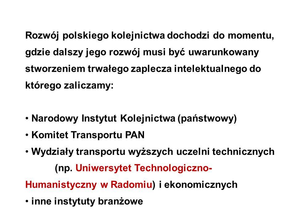 Rozwój polskiego kolejnictwa dochodzi do momentu, gdzie dalszy jego rozwój musi być uwarunkowany stworzeniem trwałego zaplecza intelektualnego do któr