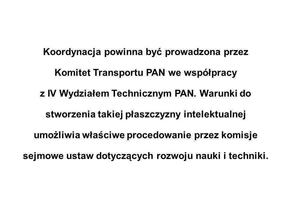 Koordynacja powinna być prowadzona przez Komitet Transportu PAN we współpracy z IV Wydziałem Technicznym PAN. Warunki do stworzenia takiej płaszczyzny
