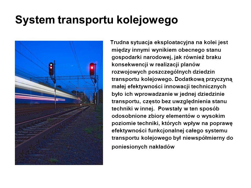 System transportu kolejowego Trudna sytuacja eksploatacyjna na kolei jest między innymi wynikiem obecnego stanu gospodarki narodowej, jak również brak