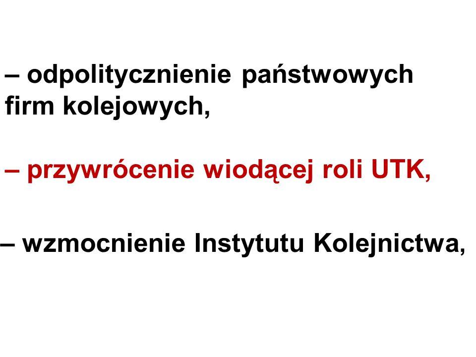 – odpolitycznienie państwowych firm kolejowych, – przywrócenie wiodącej roli UTK, – wzmocnienie Instytutu Kolejnictwa,