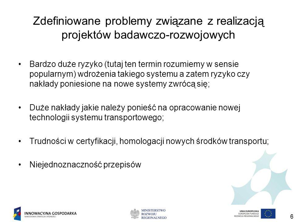 Zdefiniowane problemy związane z realizacją projektów badawczo-rozwojowych Bardzo duże ryzyko (tutaj ten termin rozumiemy w sensie popularnym) wdrożenia takiego systemu a zatem ryzyko czy nakłady poniesione na nowe systemy zwrócą się; Duże nakłady jakie należy ponieść na opracowanie nowej technologii systemu transportowego; Trudności w certyfikacji, homologacji nowych środków transportu; Niejednoznaczność przepisów 6