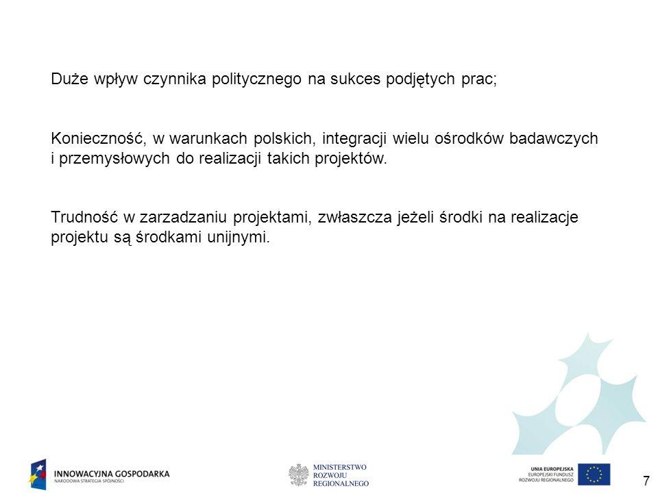 7 Duże wpływ czynnika politycznego na sukces podjętych prac; Konieczność, w warunkach polskich, integracji wielu ośrodków badawczych i przemysłowych do realizacji takich projektów.