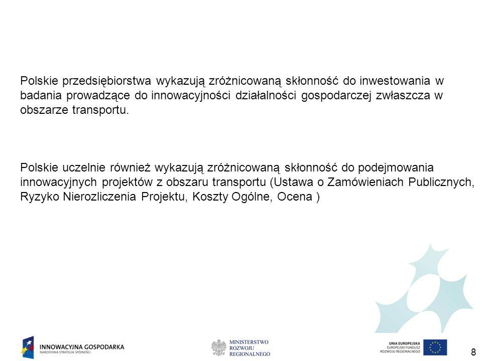 8 Polskie przedsiębiorstwa wykazują zróżnicowaną skłonność do inwestowania w badania prowadzące do innowacyjności działalności gospodarczej zwłaszcza w obszarze transportu.