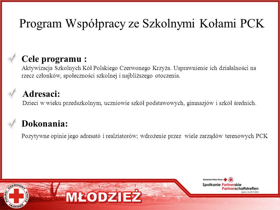 Program Współpracy ze Szkolnymi Kołami PCK Cele programu : Aktywizacja Szkolnych Kół Polskiego Czerwonego Krzyża. Usprawnienie ich działalności na rze