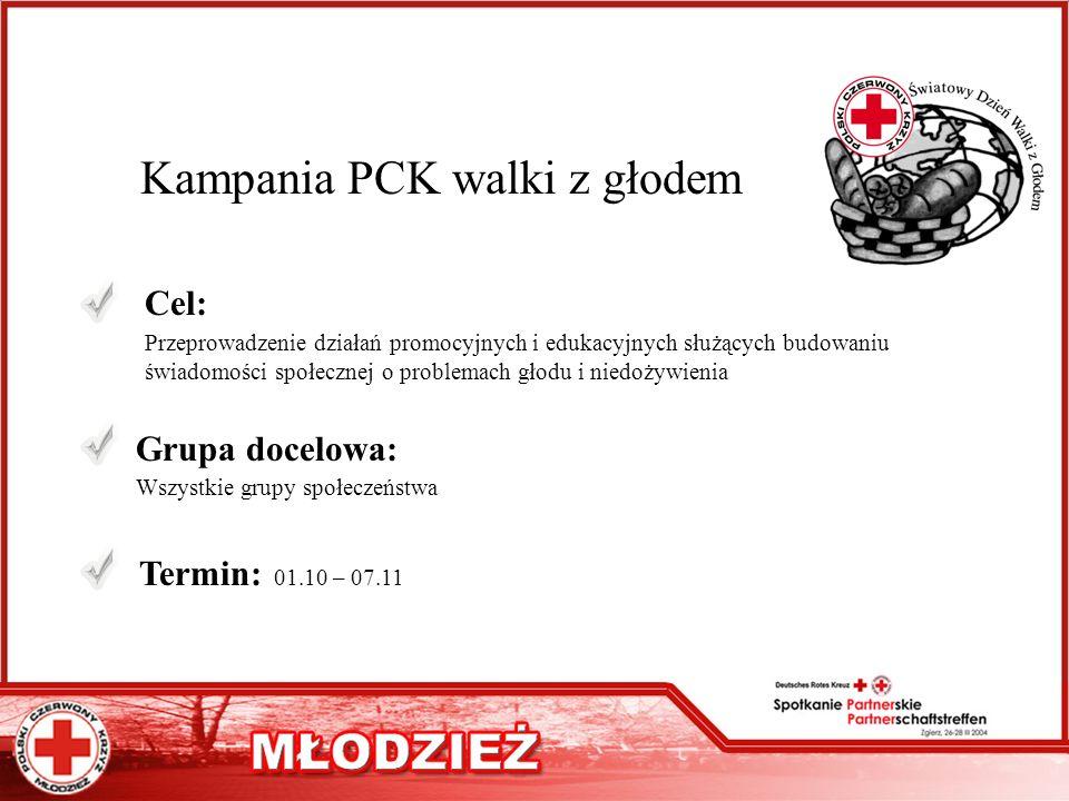 Kampania PCK walki z głodem Cel: Przeprowadzenie działań promocyjnych i edukacyjnych służących budowaniu świadomości społecznej o problemach głodu i n