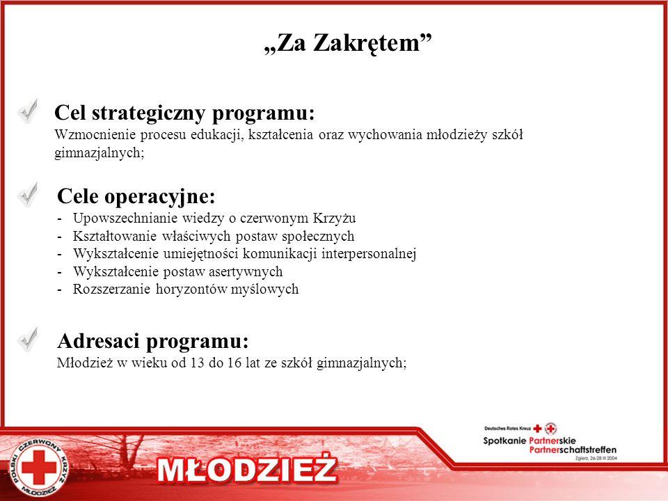 Za Zakrętem Cel strategiczny programu: Wzmocnienie procesu edukacji, kształcenia oraz wychowania młodzieży szkół gimnazjalnych; Cele operacyjne: - Upo