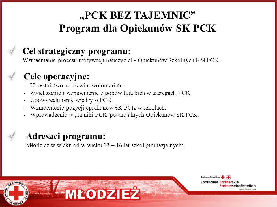 PCK BEZ TAJEMNIC Program dla Opiekunów SK PCK Cel strategiczny programu: Wzmacnianie procesu motywacji nauczycieli- Opiekunów Szkolnych Kół PCK. Cele