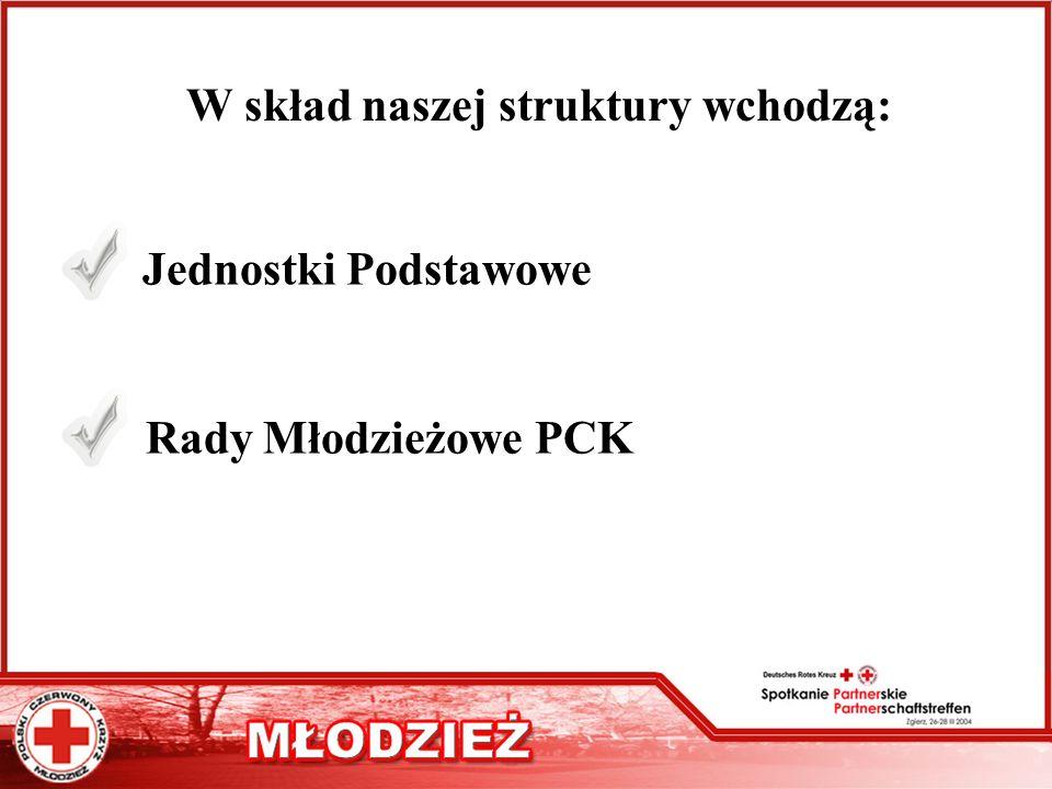 W skład naszej struktury wchodzą: Jednostki Podstawowe Rady Młodzieżowe PCK