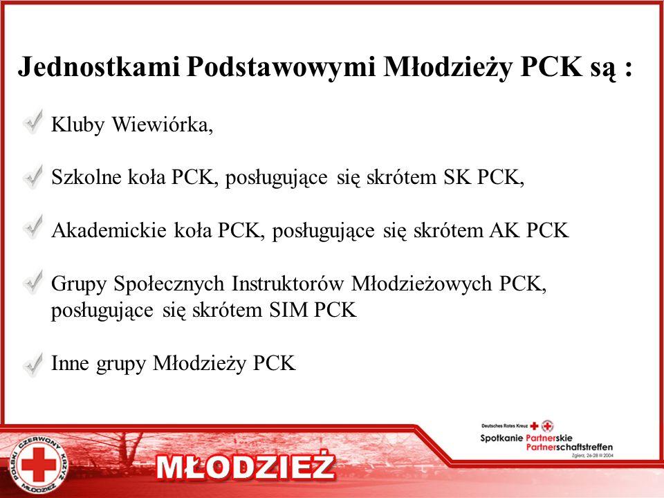 Jednostkami Podstawowymi Młodzieży PCK są : Kluby Wiewiórka, Szkolne koła PCK, posługujące się skrótem SK PCK, Akademickie koła PCK, posługujące się s