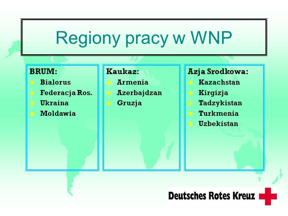 Regiony pracy w WNP BRUM: u Bialorus u Federacja Ros. u Ukraina u Moldawia Kaukaz: u Armenia u Azerbajdzan u Gruzja Azja Srodkowa: u Kazachstan u Kirg