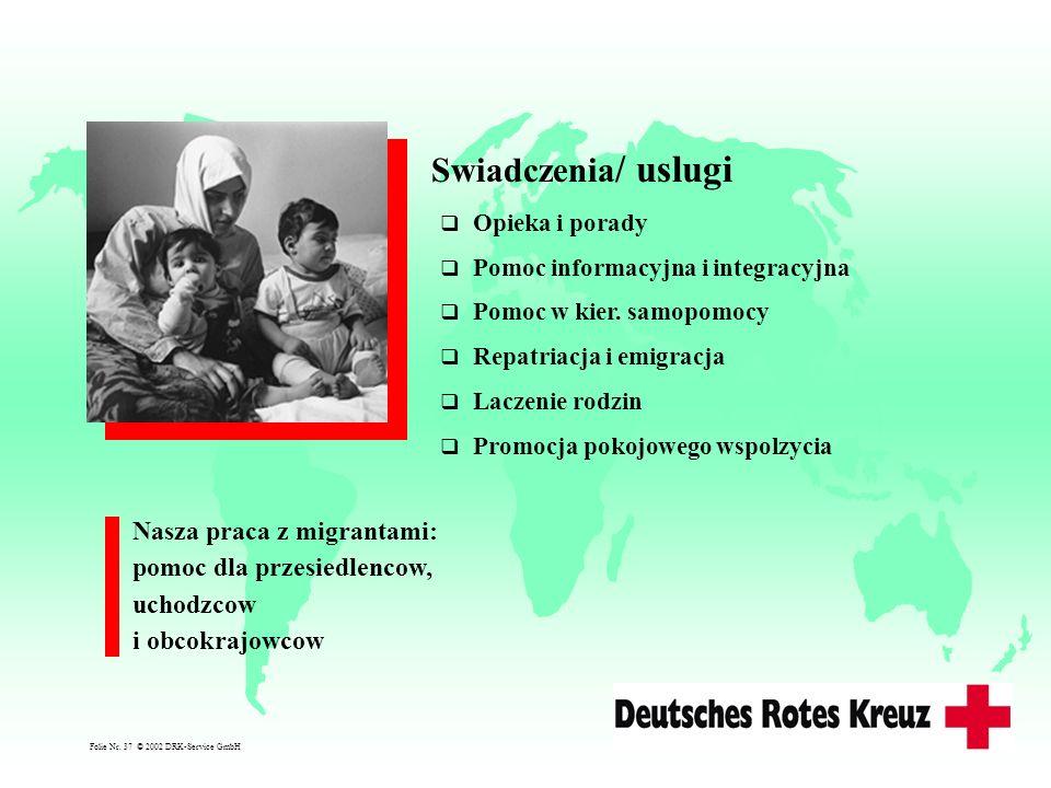 Opieka i porady Pomoc informacyjna i integracyjna Pomoc w kier. samopomocy Repatriacja i emigracja Laczenie rodzin Promocja pokojowego wspolzycia Swia