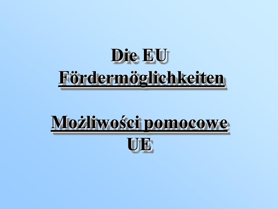 Die Arten der EU-Förderung Rodzaje pomocy UE Fonds (Strukturfonds, Flüchtlingsfonds) Gemeinschaftsinitiativen (INTERREG, EQUAL, TACIS, PHARE, CARDS..) Förderprogramme (z.B.