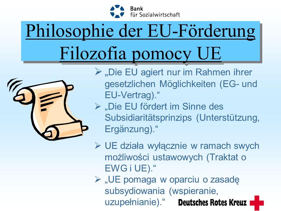 Philosophie der EU-Förderung Filozofia pomocy UE Die EU agiert nur im Rahmen ihrer gesetzlichen Möglichkeiten (EG- und EU-Vertrag).