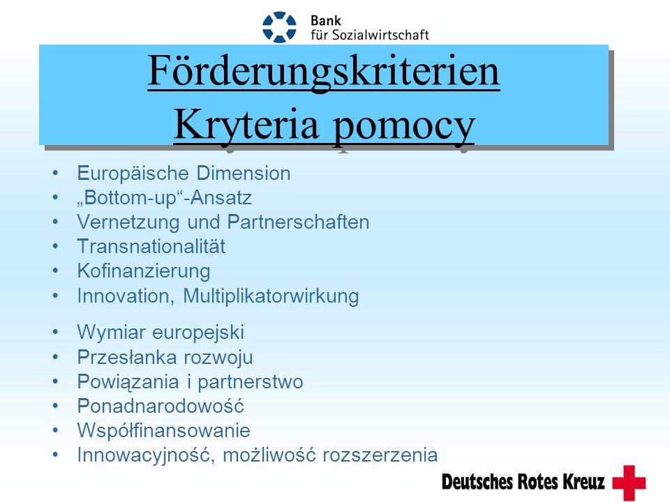 Förderungskriterien Kryteria pomocy Europäische Dimension Bottom-up-Ansatz Vernetzung und Partnerschaften Transnationalität Kofinanzierung Innovation, Multiplikatorwirkung Wymiar europejski Przesłanka rozwoju Powiązania i partnerstwo Ponadnarodowość Współfinansowanie Innowacyjność, możliwość rozszerzenia