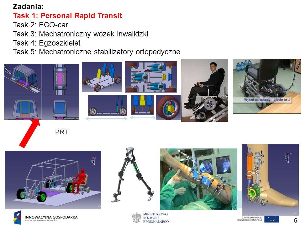 666 Zadania: Task 1: Personal Rapid Transit Task 2: ECO-car Task 3: Mechatroniczny wózek inwalidzki Task 4: Egzoszkielet Task 5: Mechatroniczne stabil